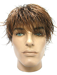 Capless High Quality Synthetic Short Straight Brown Men's Wigs