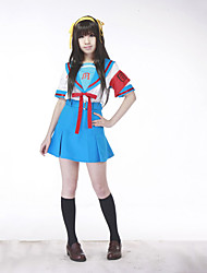 Inspired by Suzumiya Haruhi Haruhi Suzumiya Anime Cosplay Costumes Cosplay Suits / School Uniforms Patchwork Blue Short SleeveTop / Skirt