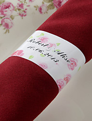 Personalized Paper Napkin Ring - Pink Rose (Set of 50)