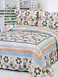3 peças coloridas país xadrez lavado algodão conjunto quilt