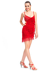 Performance Dancewear Polyester with Tassels Latin Dance Dress For Ladies More Colors