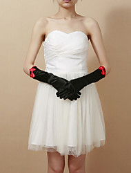 Delicate Satin Fingertips Elbow Length Party/Evening Gloves
