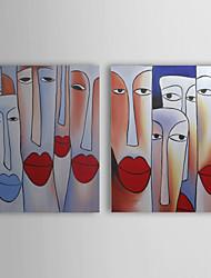 pintado a mano las personas pintura al óleo con marco estirado - juego de 2