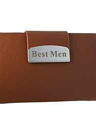 Personalized Business Card Holder With Brown Leatherette Cover