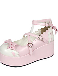 Handmade Pink PU Leather White Wavy Edge 6cm Platform Sweet Lolita Shoes
