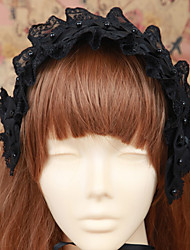 Handmade Black Lace Cotton Gothic Lolita Headband