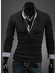 Men's Solid Work T-Shirt Long Sleeve