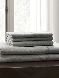 "Simple&Opulence® Fitted sheet, 100% Linen Solid Grey up to 15"" Deep"