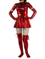 Breve Manica Corta Red Dress Shiny Metallic