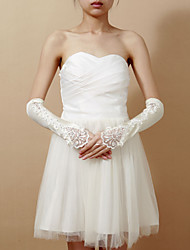 Elbow Length Fingerless Glove - Satin/Lace Bridal Gloves/Party/ Evening Gloves