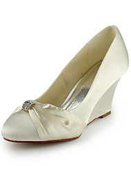 Satin Wedge Heel Wedges With Rhinestone Wedding Shoes (More Colors)