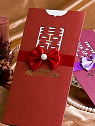 Traditional Designed Wedding Invitation With Ribbon Bow - Set of 50 (More Colors)