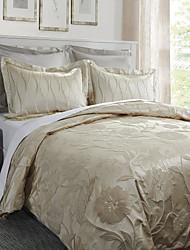 3-teiliges floral Kurve Jacquard Baumwolle Bettbezug gesetzt
