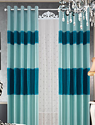 (Two Panels) Contemporary Faux Silk Stripe Lined Curtain