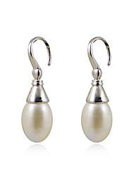 Elegante 925 Sterling Silver Pearl Drop Earrings