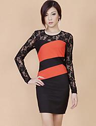 ZHI YUAN color Bloquear encaje vaina vestido (más colores)