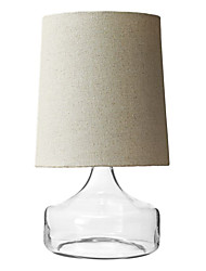 60W Modern Table Light with Beige Fabric Drum Shade and Blown Glass Base