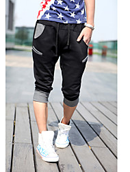 Men's Letter Print Stitching Closing Foot Cropped Pants
