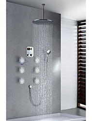 Chrome Finish Contemporary Thermostatic LED Digital Display 16 inch Round Showerhead + Handshower