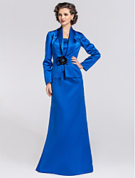 Trumpet/Mermaid Plus Sizes / Petite Mother of the Bride Dress - Royal Blue Floor-length Long Sleeve Satin