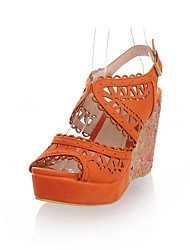 Women's Shoes Leatherette Summer / Fall Peep Toe Dress Platform Hollow-out / Split Joint Pink / Red