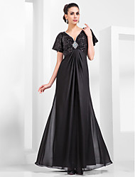 Sheath / Column V-neck Floor Length Chiffon Sequined Formal Evening Military Ball Dress with Beading Draping by TS Couture®