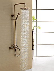 Antique Brass Shower Faucet with 8 inch Shower Head + Hand Shower