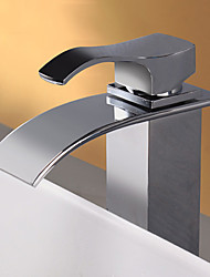 Stainless Steel Water Fall Contemporary Chrome Finish Bathroom Sink Faucet