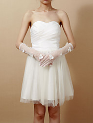 Delicate Net Fingertips Elbow Length Wedding Gloves With Sequins