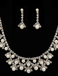 Gorgeous Alloy With Rhinestones/ Imitation Pearls Wedding Bridal Jewelry Set,Including Necklace And Earrings