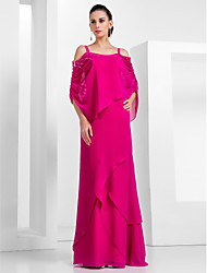Formal Evening/Military Ball Dress - Fuchsia Plus Sizes Sheath/Column Spaghetti Straps Floor-length Chiffon