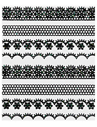 5PCS Black Lace Nail Stickers NO.2 mariage (couleurs assorties)
