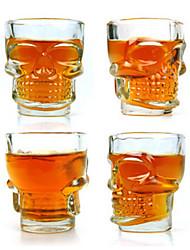 crâne frais 2,5 onces de whisky en verre de bière de tir (4-pack)
