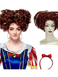 Capless synthétique de haute qualité brun court Perruques cheveux bouclés avec Pearl