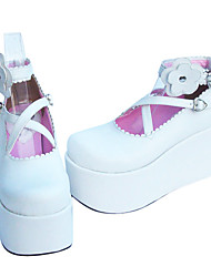 Handmade Cross Belt PU Leather 10cm Platform Sweet Lolita Shoes with Flower