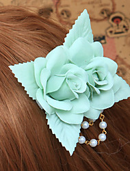 Handmade Sky Blue Rose Cotton Land Lolita Headpiece