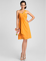 Homecoming Bridesmaid Dress Knee Length Chiffon A Line One Shoulder Dress