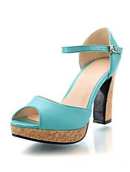 Damenschuhe - Sandalen / High Heels - Kleid - Kunstleder - Blockabsatz - Zehenfrei - Grün