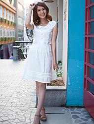 JDUO Collar Doll Dress volante oscilante (Blanco)