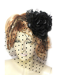 Women's Lace Tulle Cotton Flannelette Headpiece-Wedding Special Occasion Fascinators