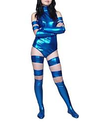 Shiny Zentai Suits Ninja Zentai Cosplay Costumes Blue Print Leotard/Onesie / Gloves / Stockings / More Accessories Shiny Metallic Female
