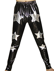 Argent Black Stars Shiny Pants métalliques