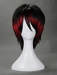 Lolita Perücken Punk Farbverläufe Kurz Rot / Schwarz Lolita Perücken 35 CM Cosplay Perücken Einfarbig Perücke Für Damen