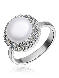 Fabulous Platinum plated met zirkonia Parel Ring