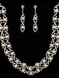 branco pérola de duas peças brilhando conjunto das senhoras jóias (45 cm)