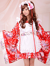 Floral Long Sleeve Knee-length Red Satin Wa Lolita Kimono Outfit
