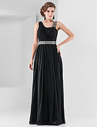 Sheath / Column Straps Floor Length Chiffon Formal Evening Military Ball Dress with Crystal Detailing Draping by TS Couture®