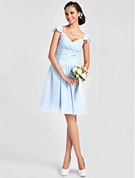 Knee-length V-neck Bridesmaid Dress - Sexy Short Sleeve Chiffon