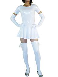 Manica corta corta bianco abito da Shiny Metallic