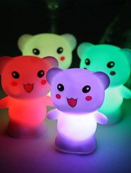 Wedding Décor Lovely Vinyl Bear LED Lamp - Set of 4 (Color Changing, Built-in Botton Cell)